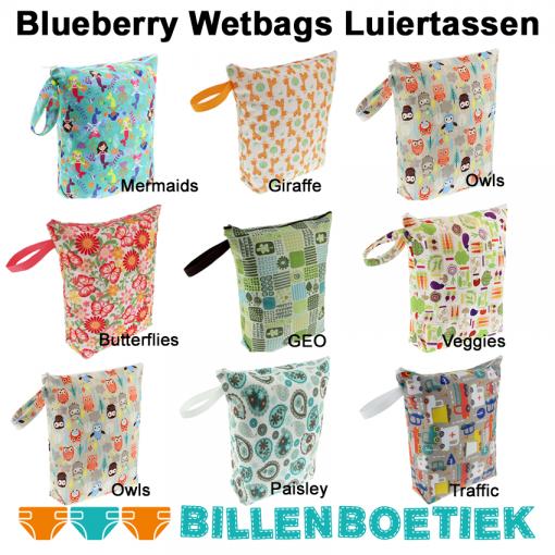 Alle luiertassen wetbags van Blueberry Billenboetiek