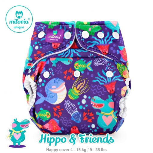Wasbare luier billenboetiek milovia cover Hippo & Friends