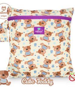 milovia Cute Teddy wetbag voor wasbare luiers Billenboetiek tekst