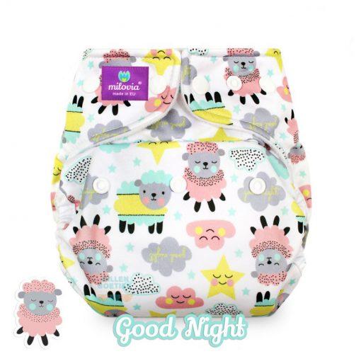 milovia Good Night cover overbroekje voor over basisluier one size logo