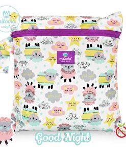 milovia Good Night wetbag voor wasbare luiers Billenboetiek tekst