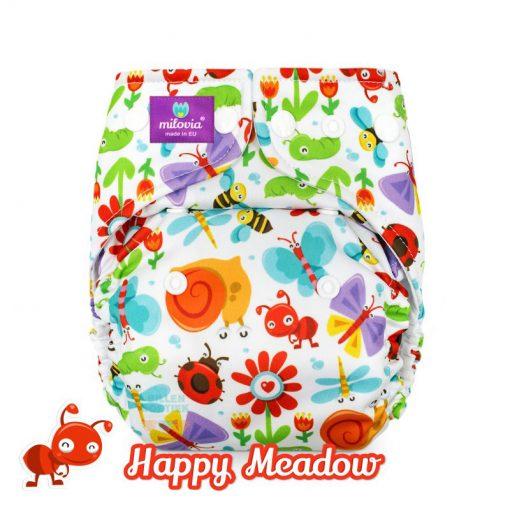 milovia Happy Meadow cover overbroekje voor over basisluier one size logo