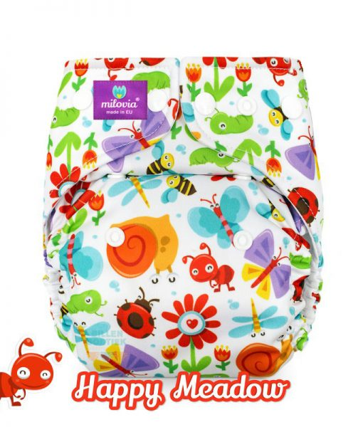 milovia Happy Meadow cover overbroekje voor over basisluier one size logo
