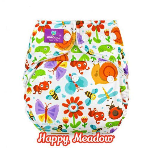 milovia Happy Meadow cover overbroekje voor over basisluier tekst