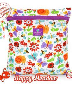 milovia Happy Meadow wetbag voor wasbare luiers Billenboetiek tekst