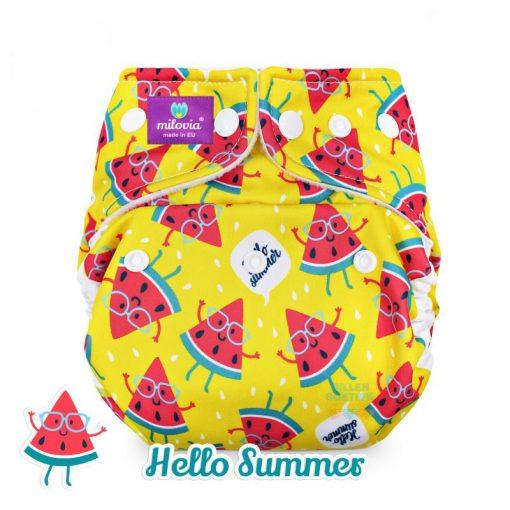 milovia Hello Summer cover overbroekje voor over basisluier one size logo