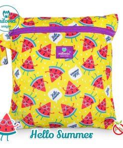 milovia Hello Summer wet bag voor wasbare luiers Billenboetiek tekst