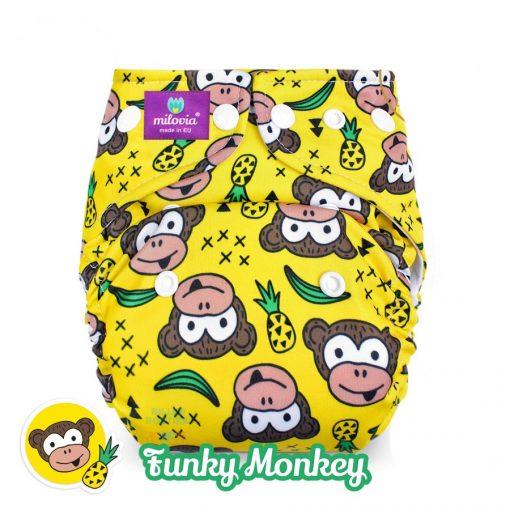 Milovia wasbare luier Billenboetiek coolmax pocket Funky Monkey
