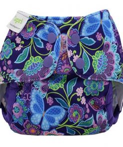 Blueberry Capri newborn Purple Butterflies Overbroekje voor over wasbare luiers van de Billenboetiek