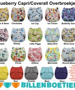Billenboetiek wasbare luiers overbroekje Blueberry Capri Coverall verzameling