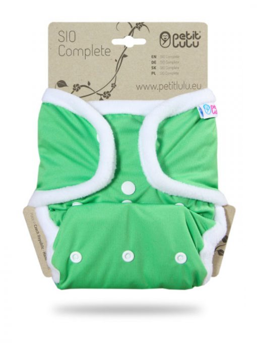 Billenboetiek wasbare luiers Petit Lulu Cover OneSize snaps front Green