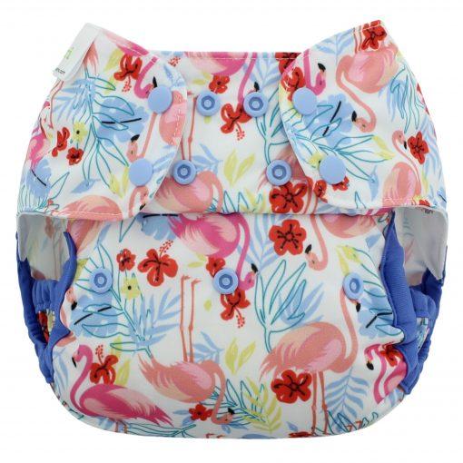 wasbare luiers billenboetiek Blueberry Capri overbroekje flamingos