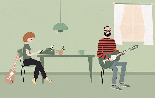 Eshter Pantekoek en Jasper Smit wakker met een wijsje ilustratie Aura Scaringi