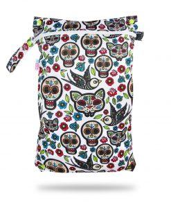 Petit Lulu wetbag voor wasbare luiers billenboetiek Utrecht Mexican Skulls