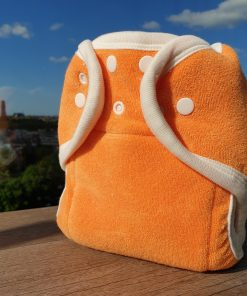 Onesize soft organic Popolini wasbare luiers Billenboetiek basisluier 85% organic katoen 15% kunststof oranje