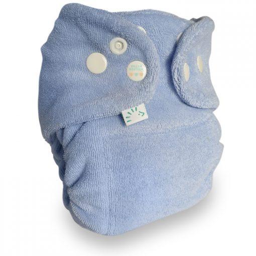 Popolini Newborn MiniSnap snapfit Tinfit wasbare luiers Billenboetiek Utrecht clothdiapers blauw