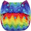 Blueberry wasbare luiers overbroekje Billenboetiek Rainbow waves
